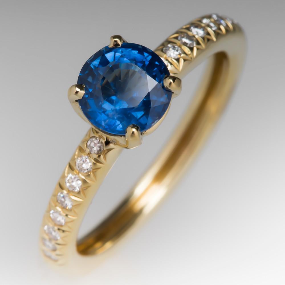 1.3 Carat Blue Sapphire & Diamond Ring 18K