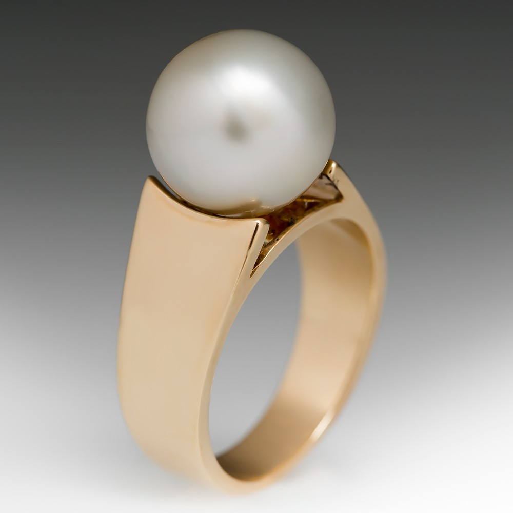 Large 11mm Pearl Solitaire Ring 14K