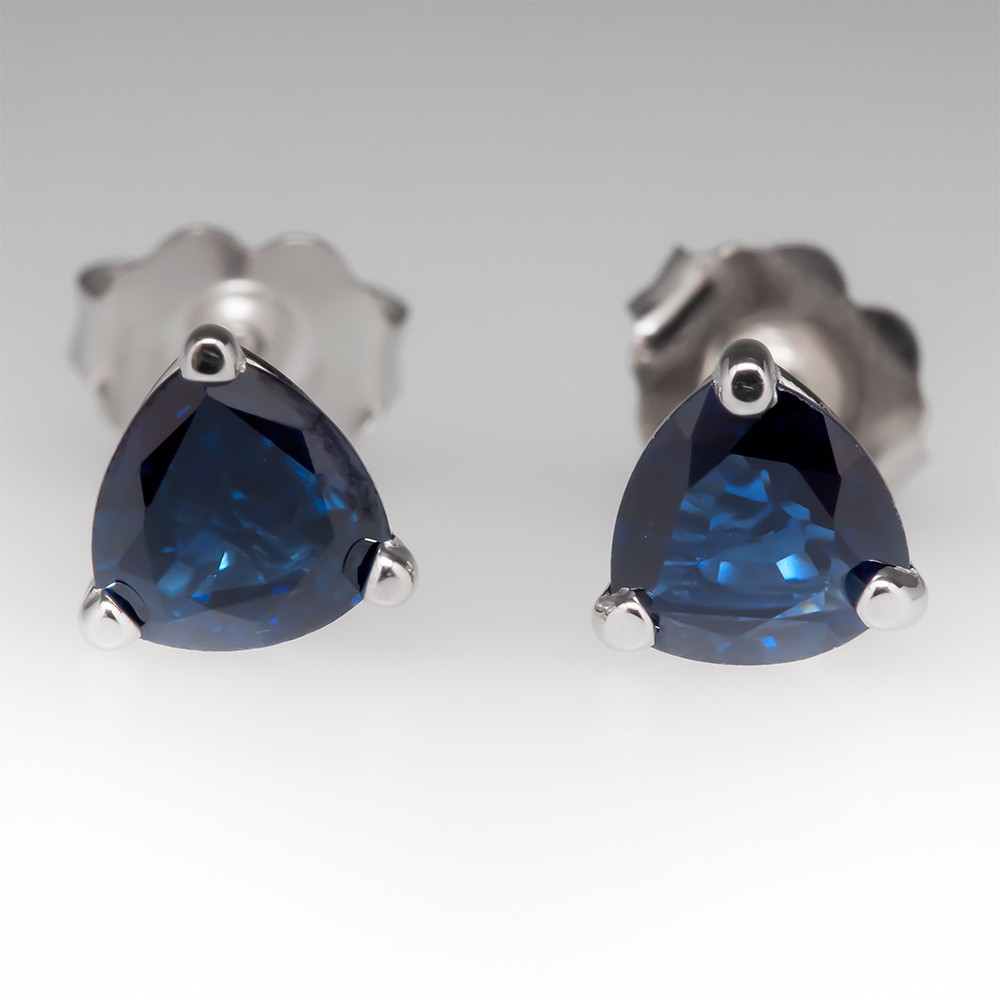 1.5CTW Trillion Cut Natural Blue Sapphire Stud Earrings