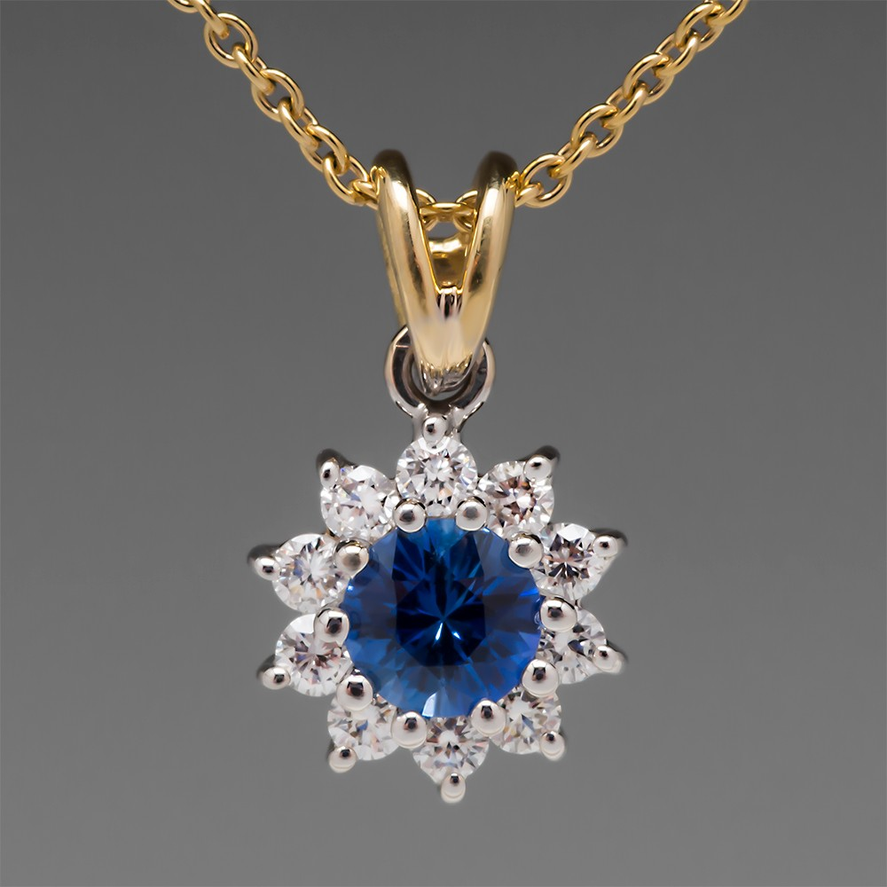 Spark Blue Sapphire & Diamond Halo Pendant Necklace 18K