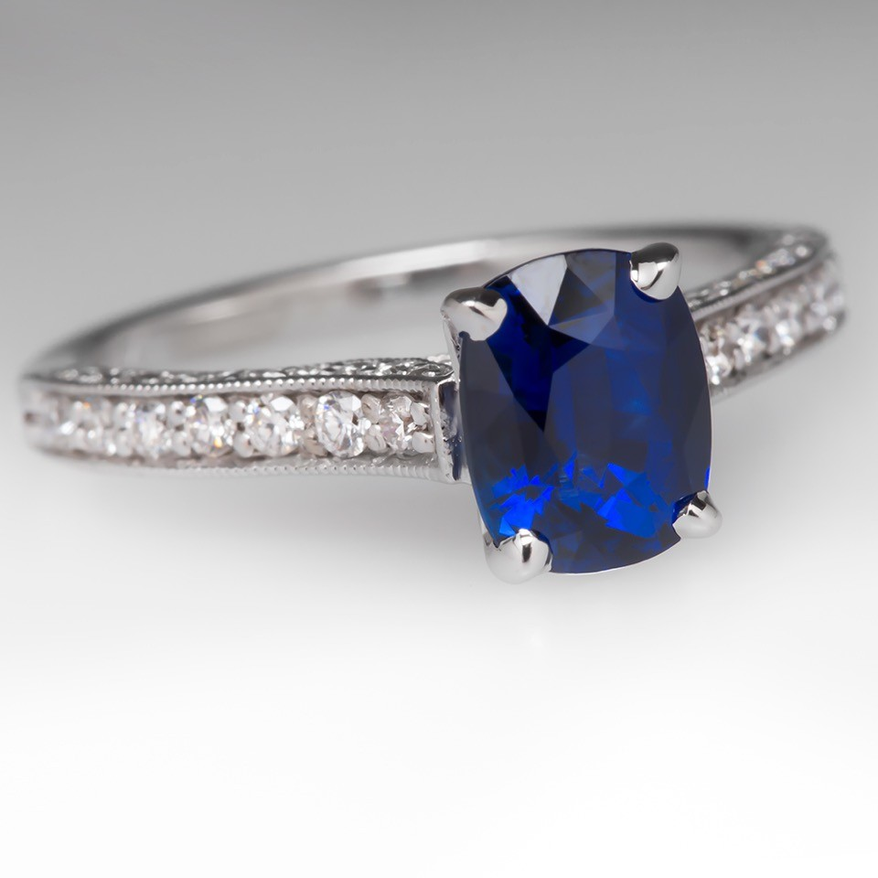 2 Carat Cushion Blue Sapphire & Diamond Ring 14K