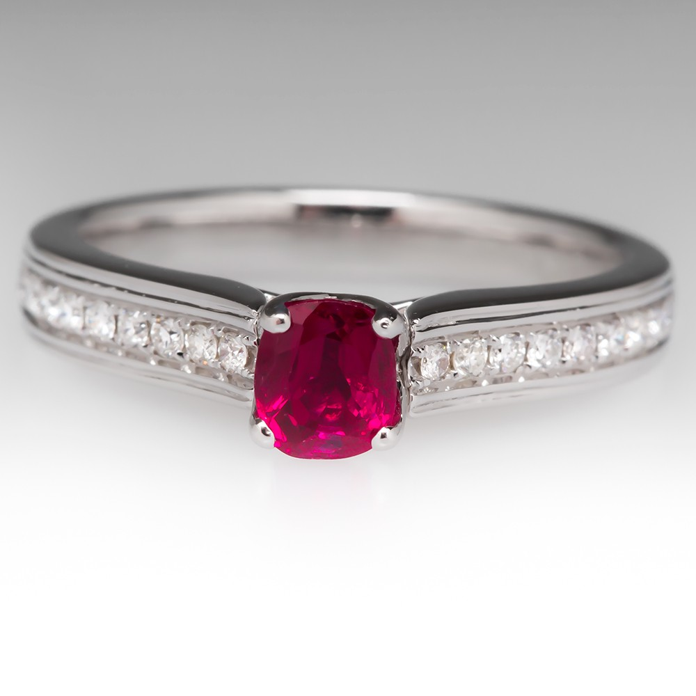 .64 Carat Cushion Cut Ruby & Diamond Ring 18K