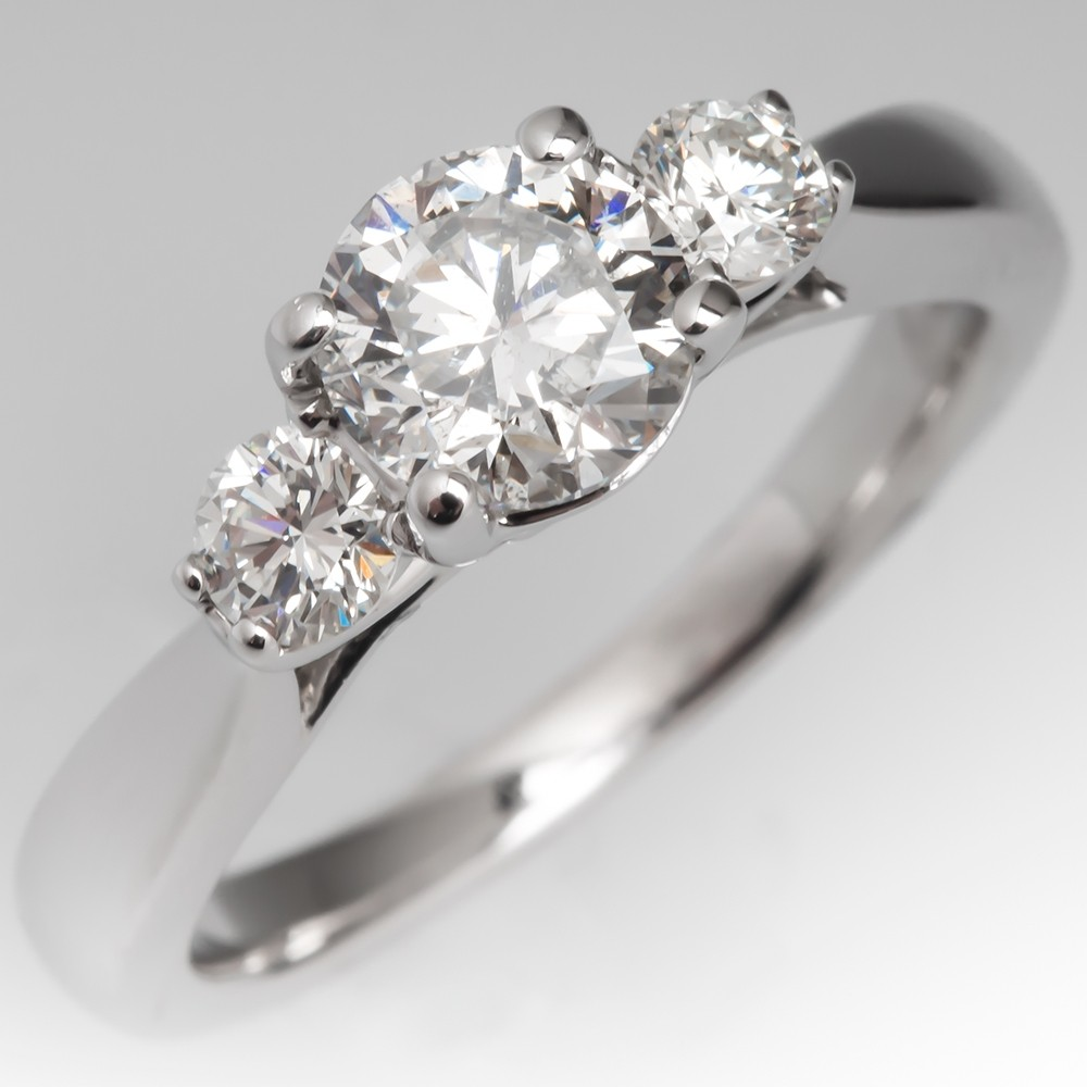 Classic Round Brilliant Diamond Three Stone Engagement Ring 14K