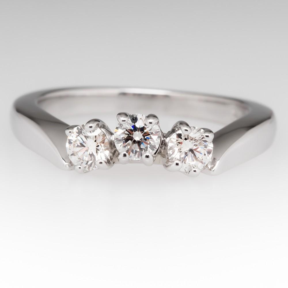 14K White Gold Three Stone Curved Diamond Wedding Band