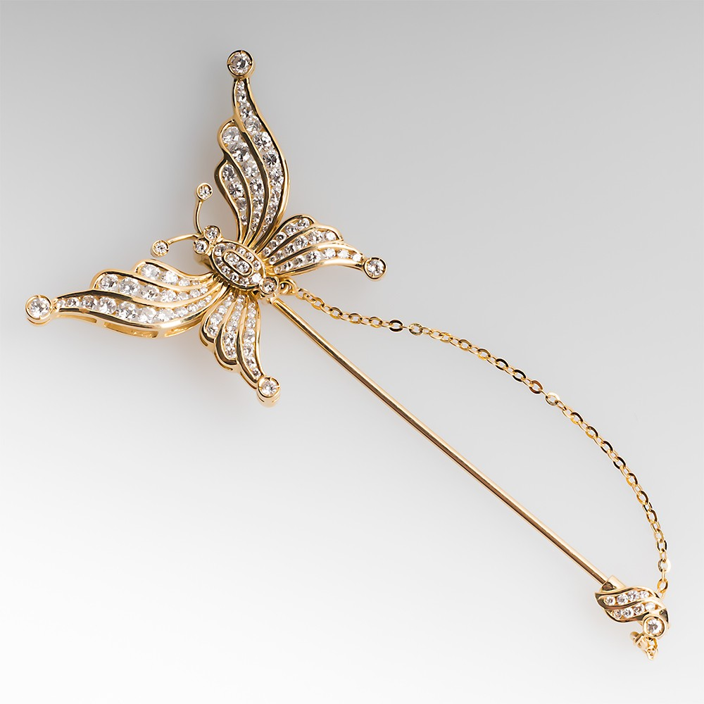 18K Diamond Butterfly Convertible Pin / Earrings