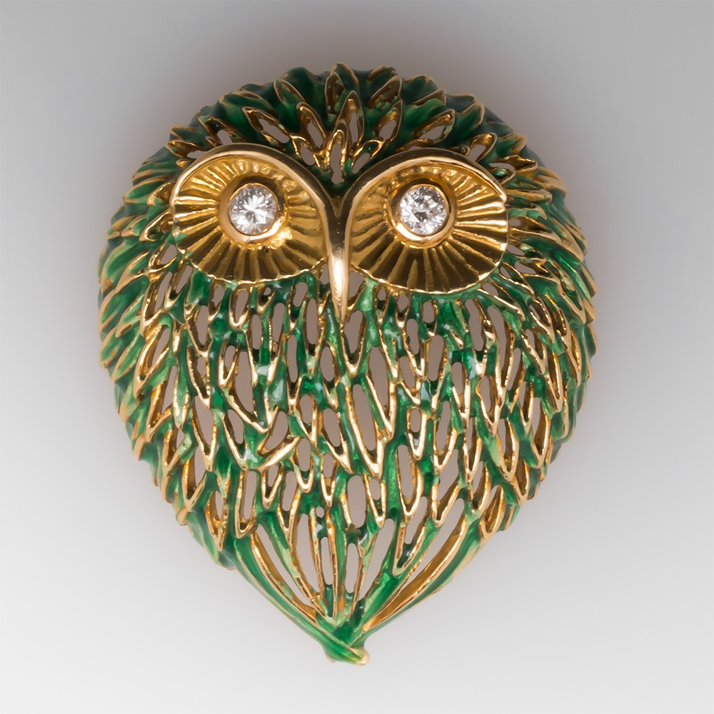 Vintage Owl Brooch Pin Green Enamel & Diamonds 18K