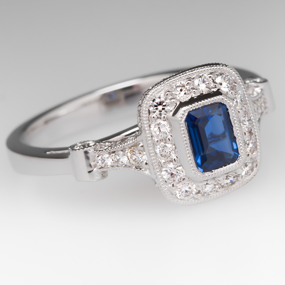 Spark Emerald Cut Blue Sapphire & Diamond Halo Ring 18K