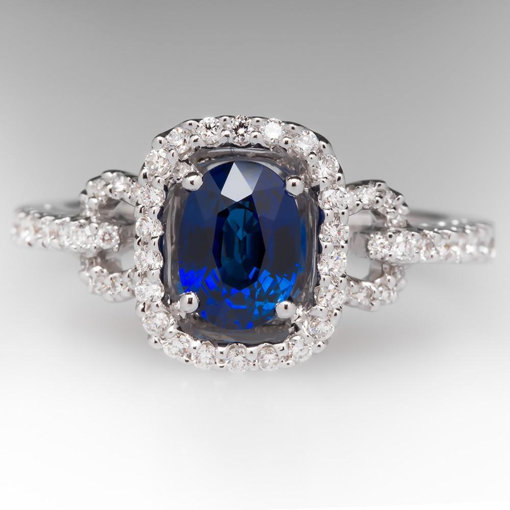 Spark 1 Carat Blue Sapphire & Diamond Halo Ring 18K