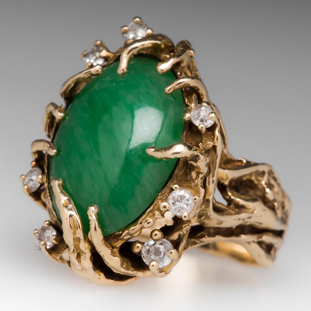 Vintage Jadeite Jade Cocktail Ring 14K