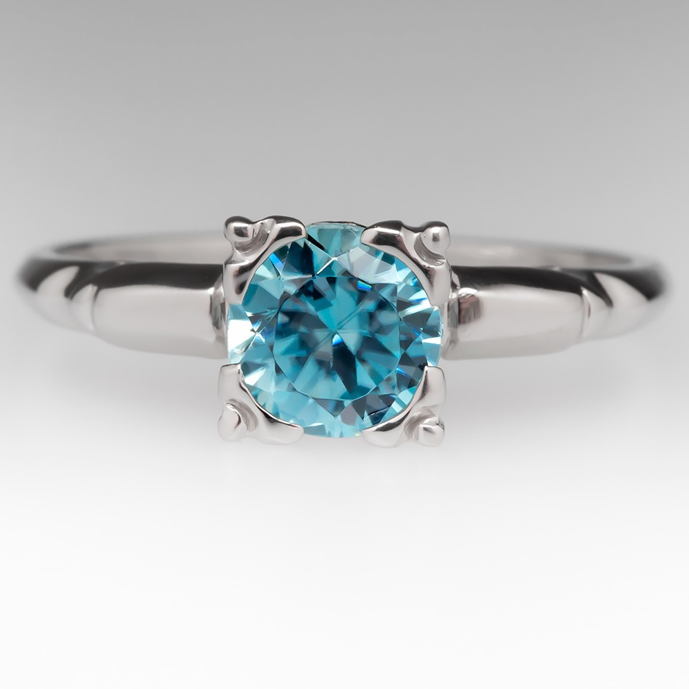 1 Carat Blue Zircon Vintage Solitaire Ring