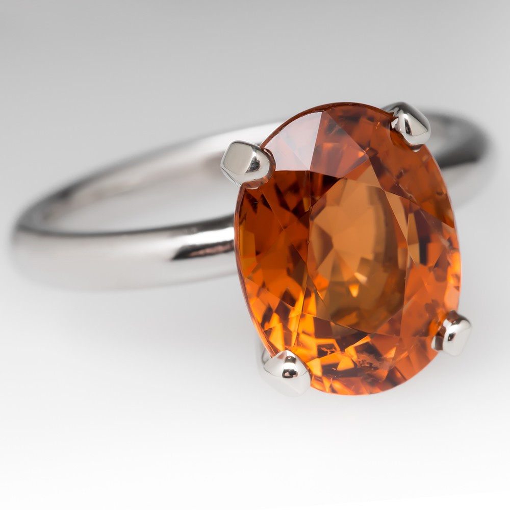5 Carat Reddish-Orange Natural Tourmaline Solitaire Ring