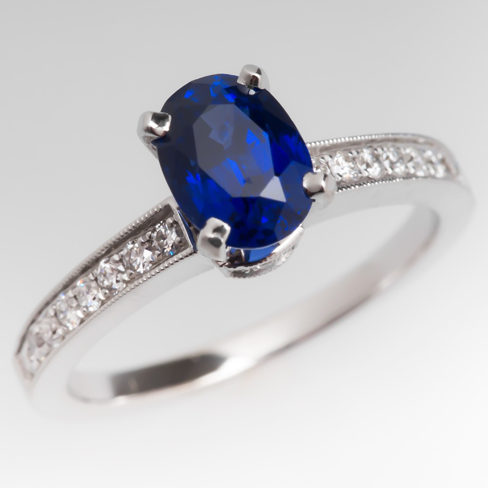 1.6 Carat Rich Blue Sapphire Ring w/ Diamond Accents