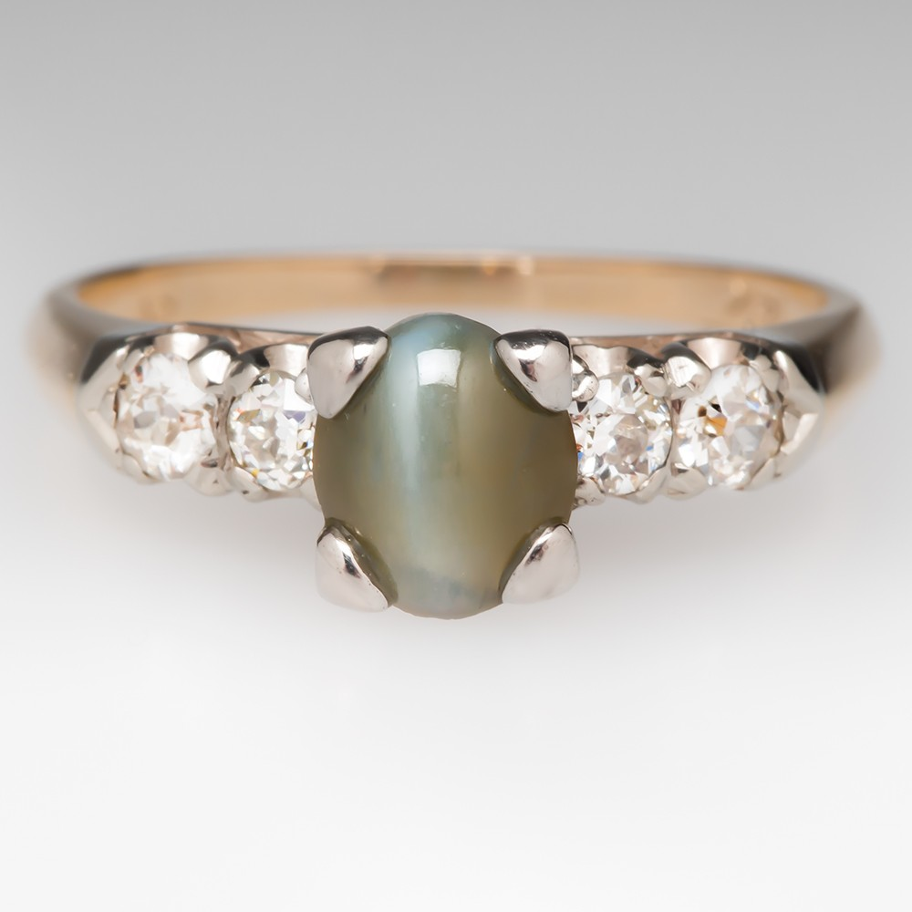 2 Carat Cat's Eye Chrysoberyl Ring w/ Old Euro Diamonds 14K