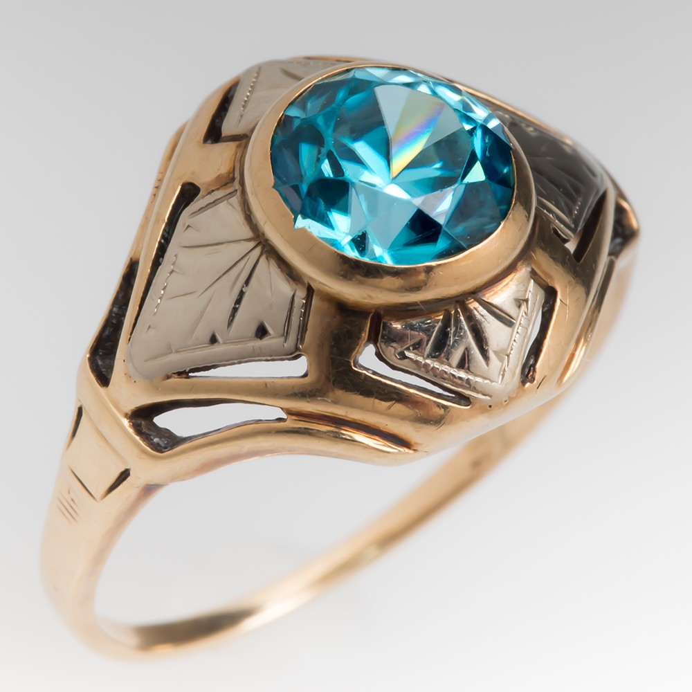 Vintage 1940's Blue Zircon Openwork Ring 10K