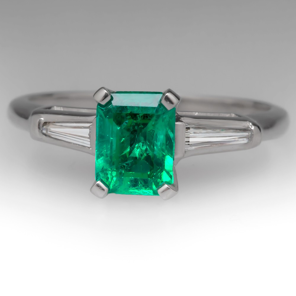 Vintage Emerald & Tapered Baguette Diamond Platinum Ring