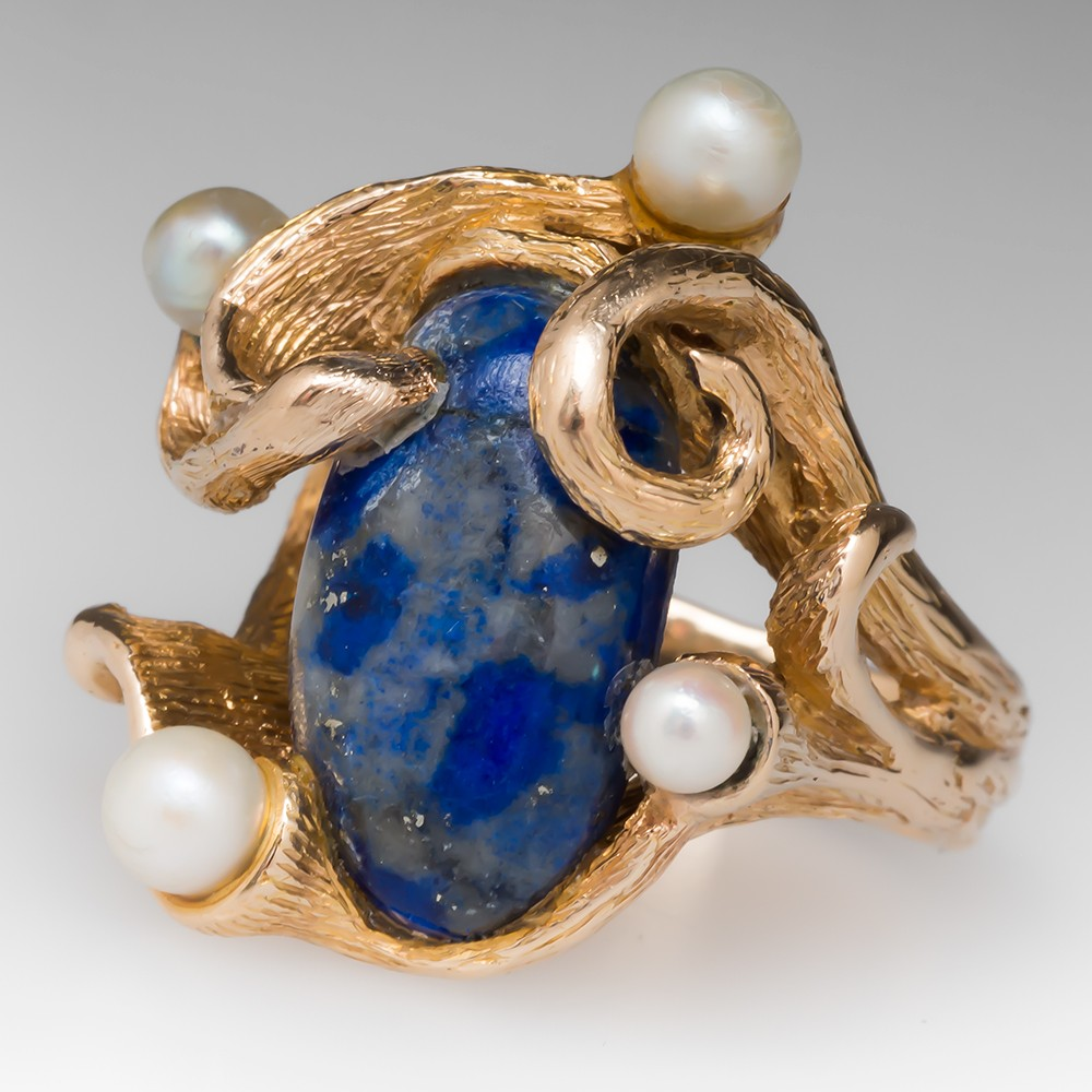 1970's Nature Inspired Lapis & Pearl Cocktail Ring 14K