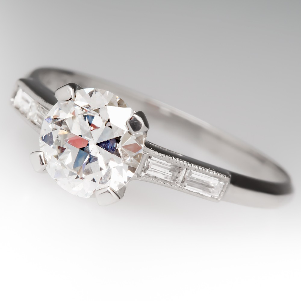 Late 1930's Antique 1.2 Carat Transitional Cut Diamond Ring