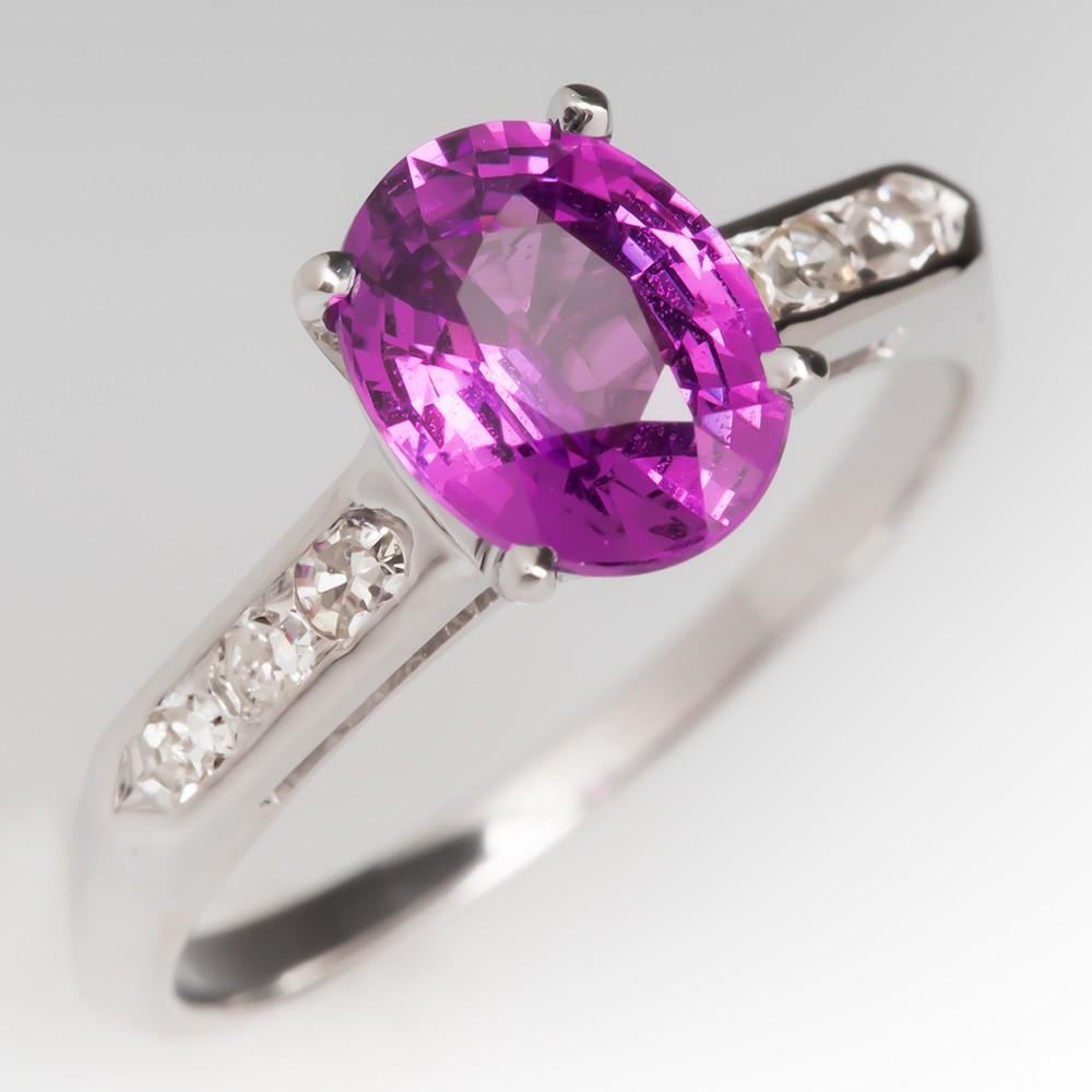 Vintage 1.6 Carat Pink Sapphire Ring 14K