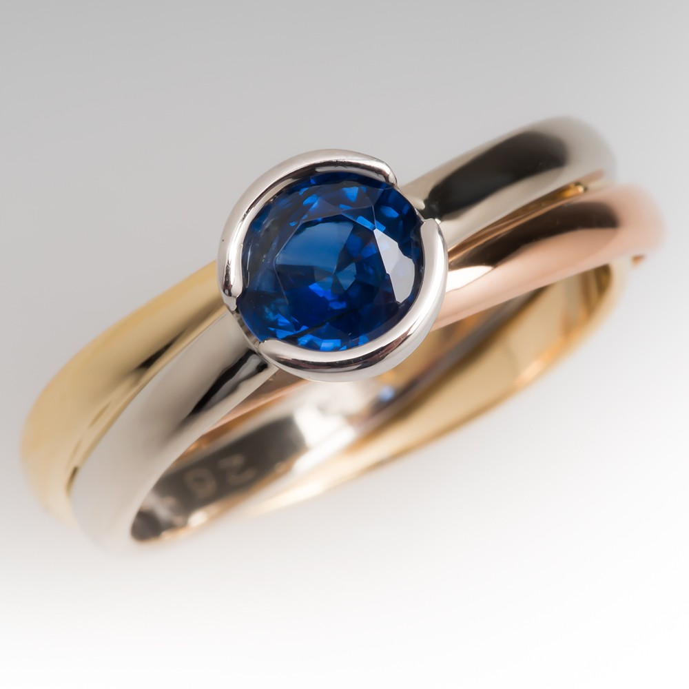 18K Cartier Trinity Ring Set w/ Natural Blue Sapphire