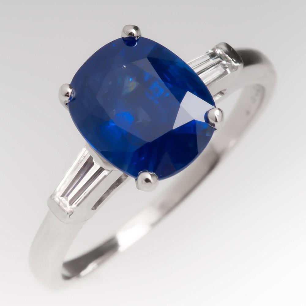 3 Carat Blue Sapphire Ring Platinum w/ Baguettes