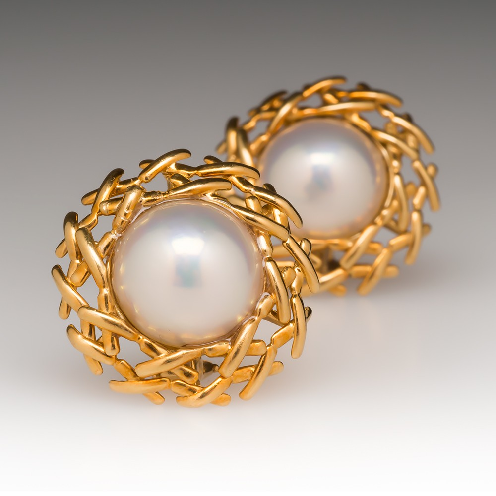 "Tiffany & Co. Large Pearl Signature ""X"" Earrings 18K 1990"