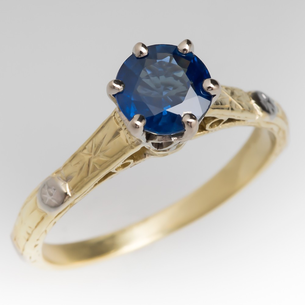 1 Carat Untreated Round Blue Sapphire Solitaire Ring 18K