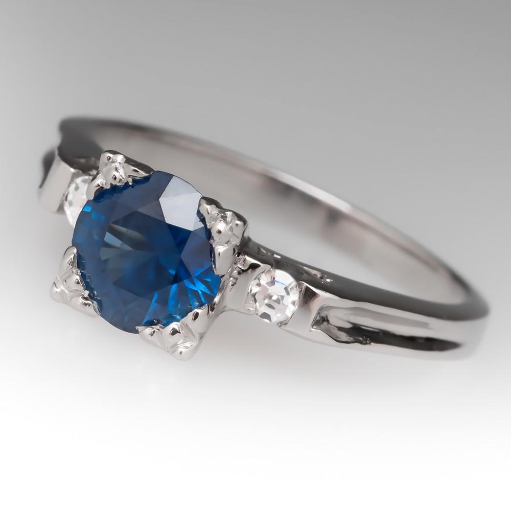 Vintage 1 Carat Rich Blue Untreated Montana Sapphire Platinum Ring
