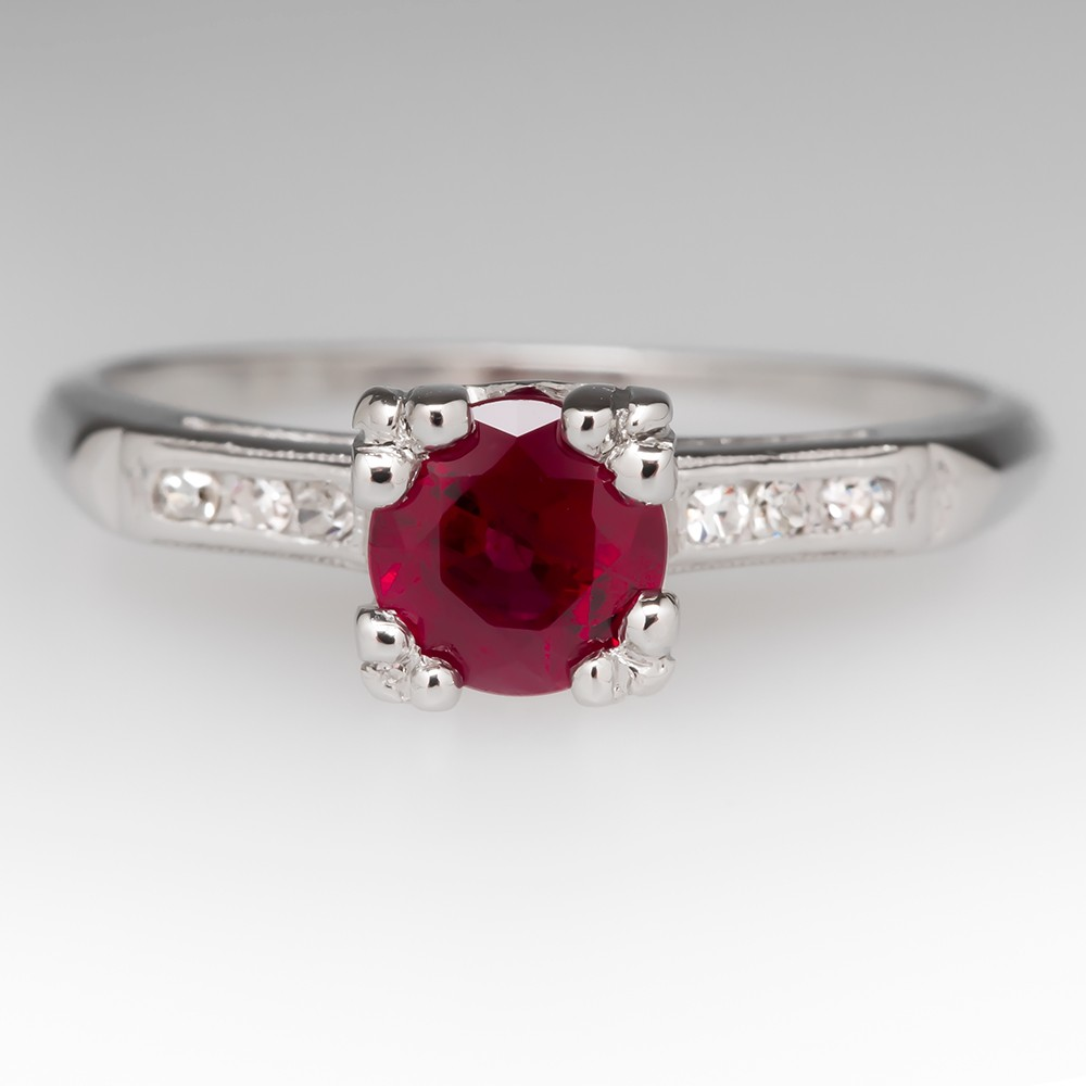 Vintage Ruby Ring With Diamonds in Platinum
