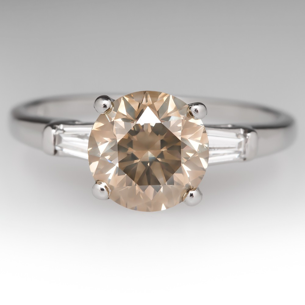 2 Carat Champagne Diamond Engagement Ring
