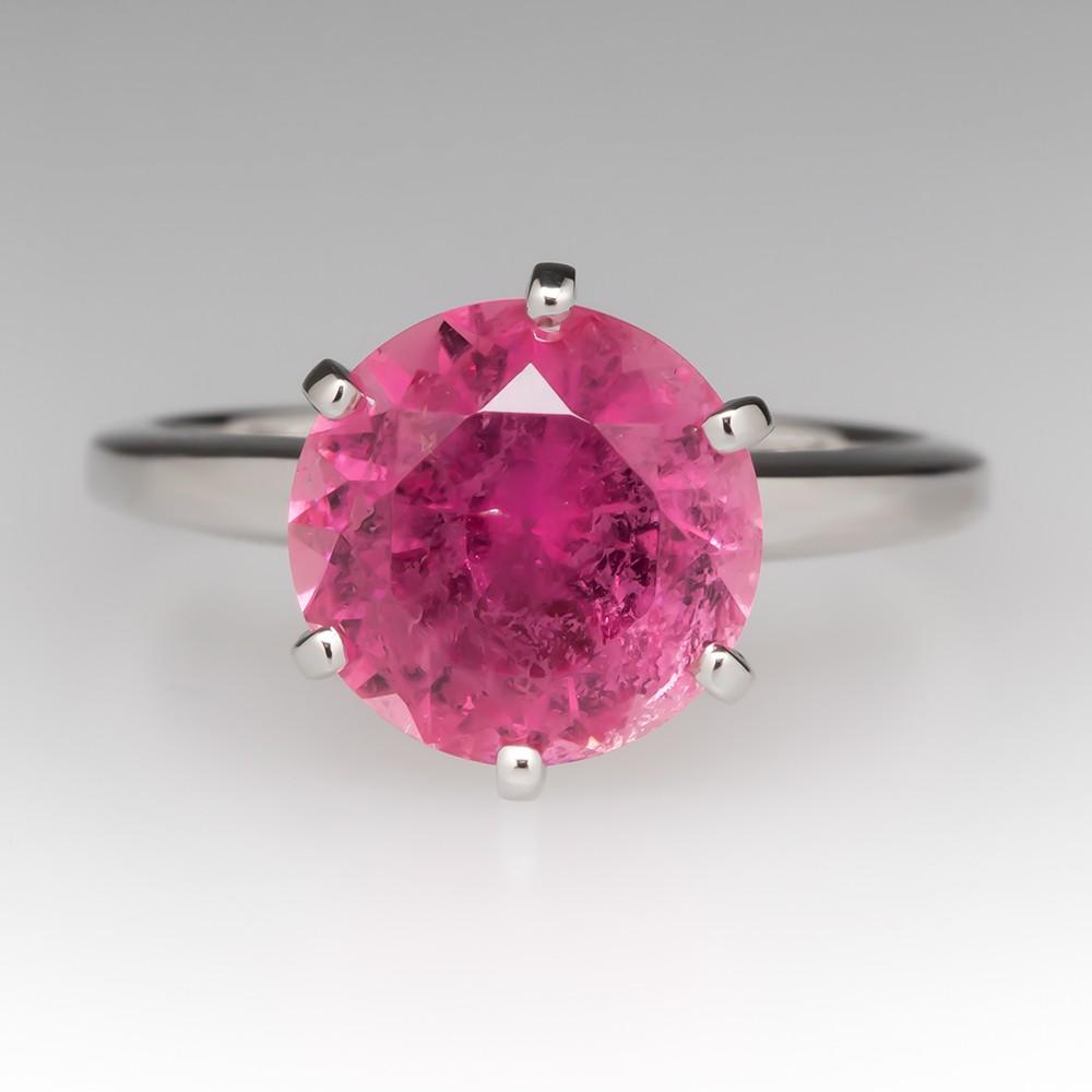 3 Carat Round Pink Tourmaline Solitaire Platinum Ring
