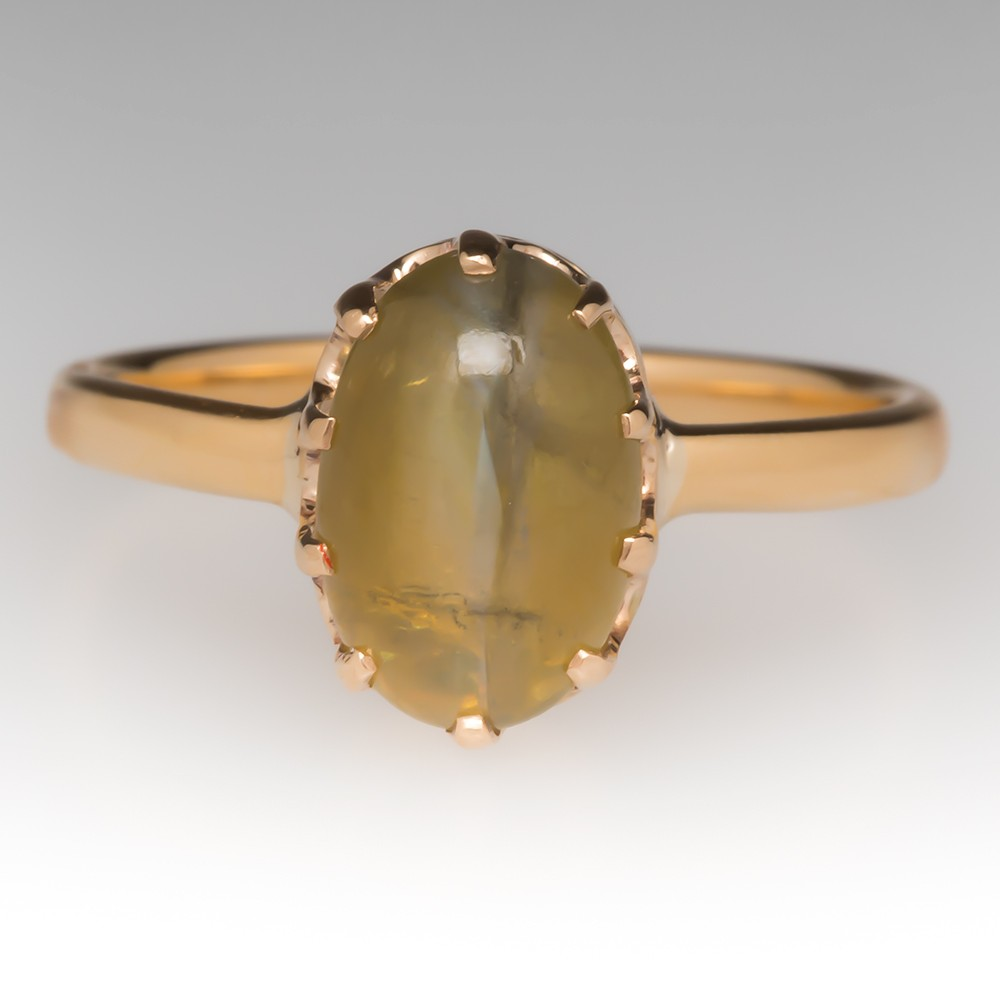 2.8 Carat Cats Eye Chrysoberyl Ring Claw Head 18K