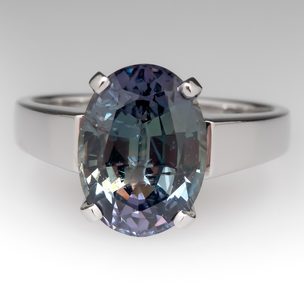 4.7 Carat No Heat Green Sapphire Solitaire Platinum Ring