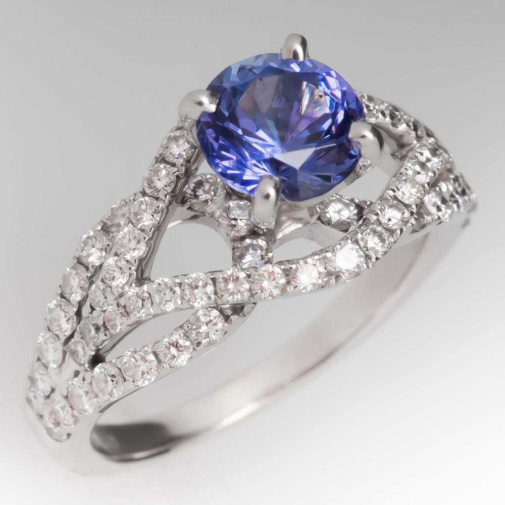 1.2 Carat Violetish Blue Tanzanite & Diamond Ring 18K