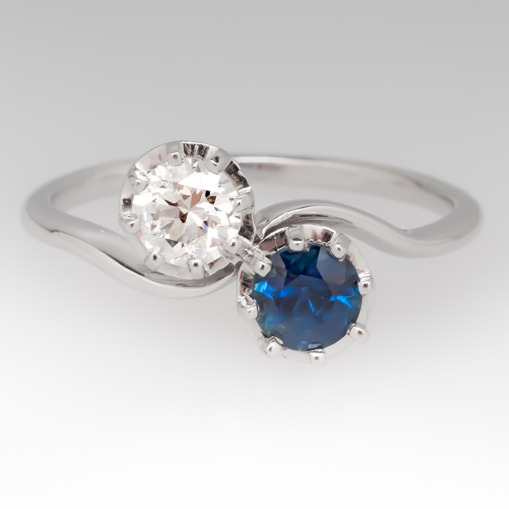 Vintage Sapphire & Diamond Bypass Ring in Platinum