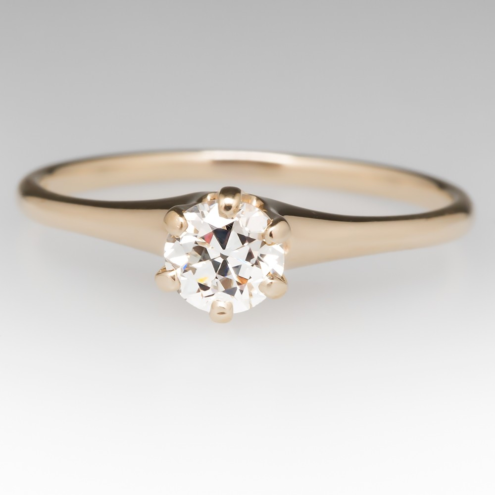 Transitional Cut Diamond Solitaire Engagement Ring 14K Yellow Gold