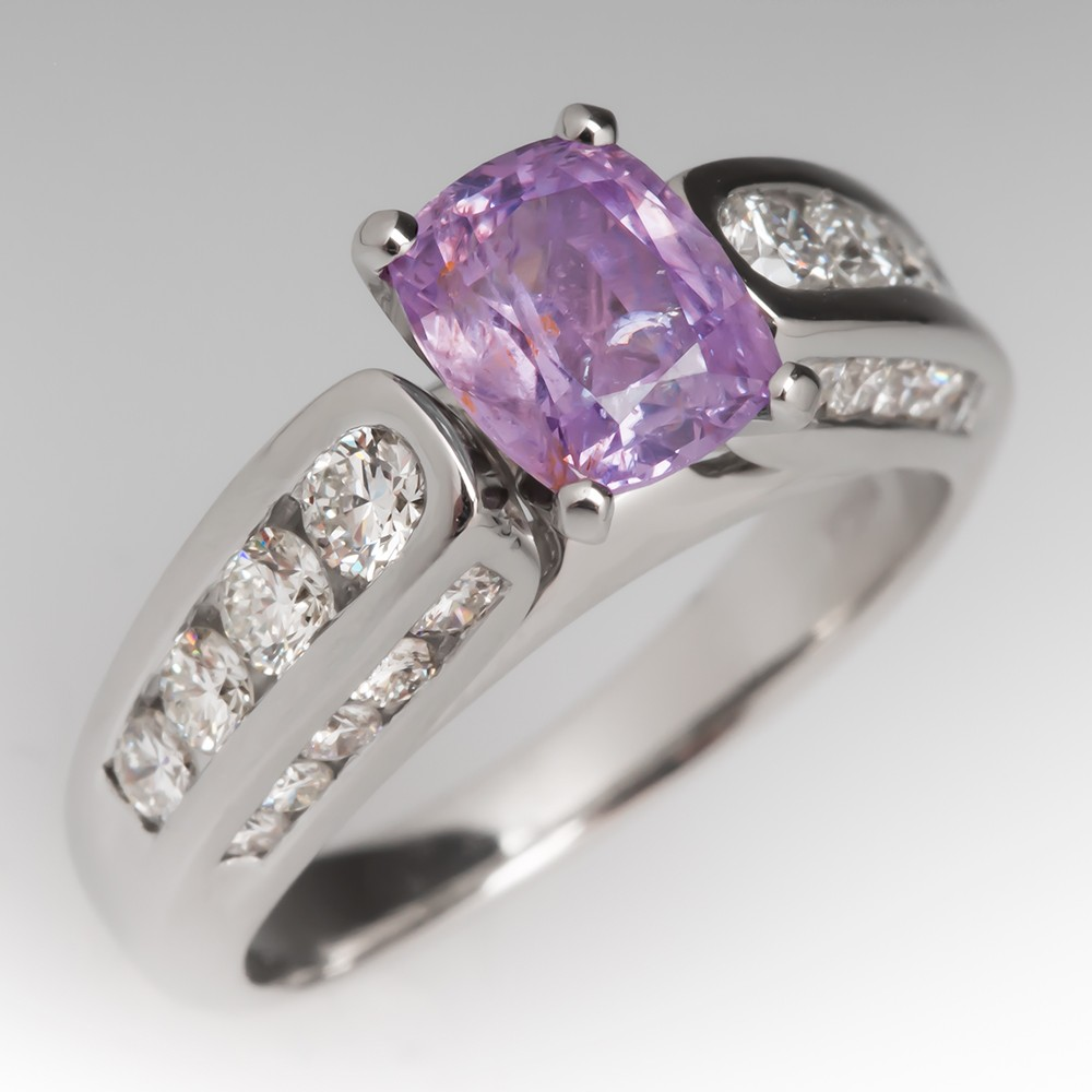 1.5 Carat Pink Montana Sapphire and Diamond Ring