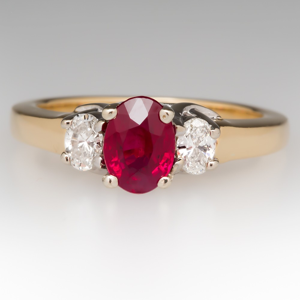 Ruby & Diamond Three Stone Ring 18K Gold