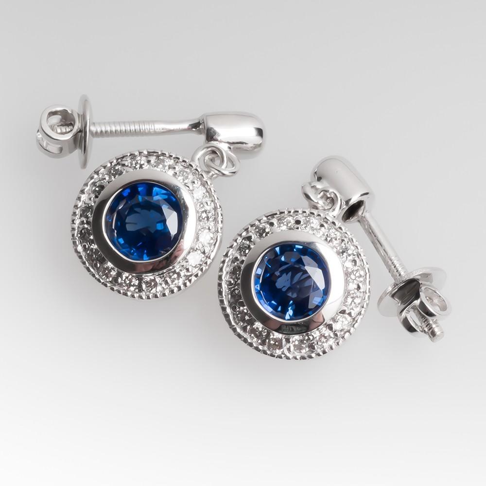 18K White Gold Sapphire & Diamond Halo Dangle Earrings