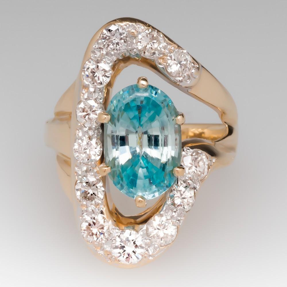 Unique Vintage 3.4 Carat Blue Zircon & Diamond Ring 14K