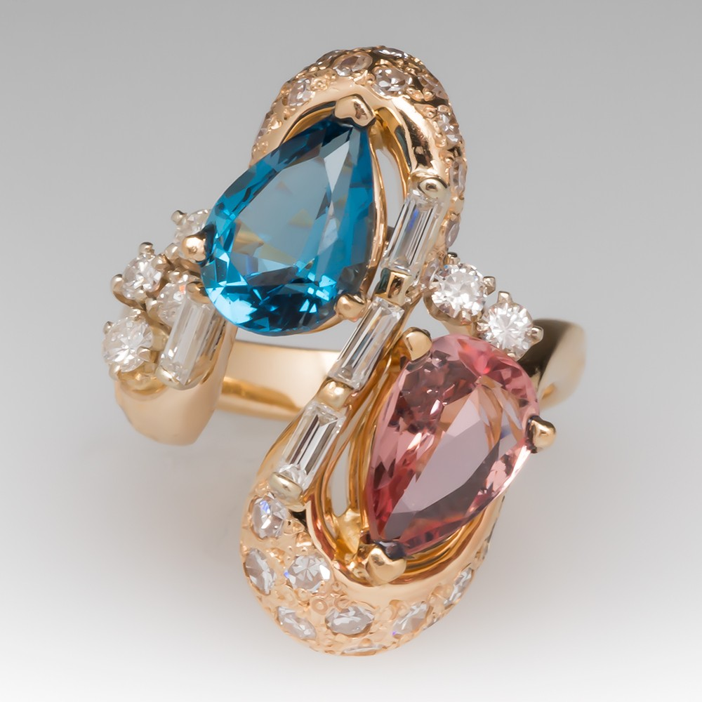 Pear Shaped Imperial & Blue Topaz Ring w/ Diamonds