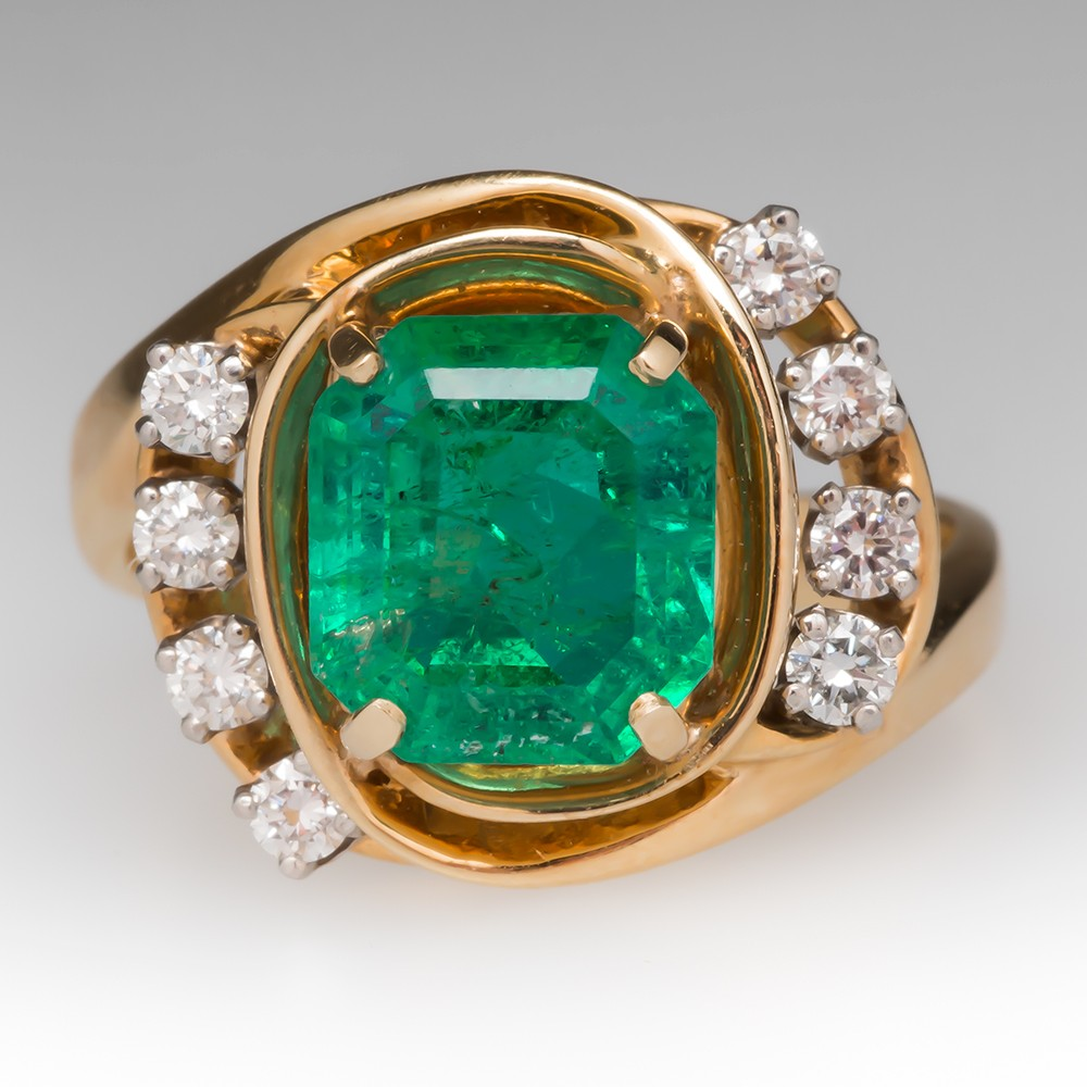 3 Carat Emerald & Diamond Vintage Retro Ring 14K