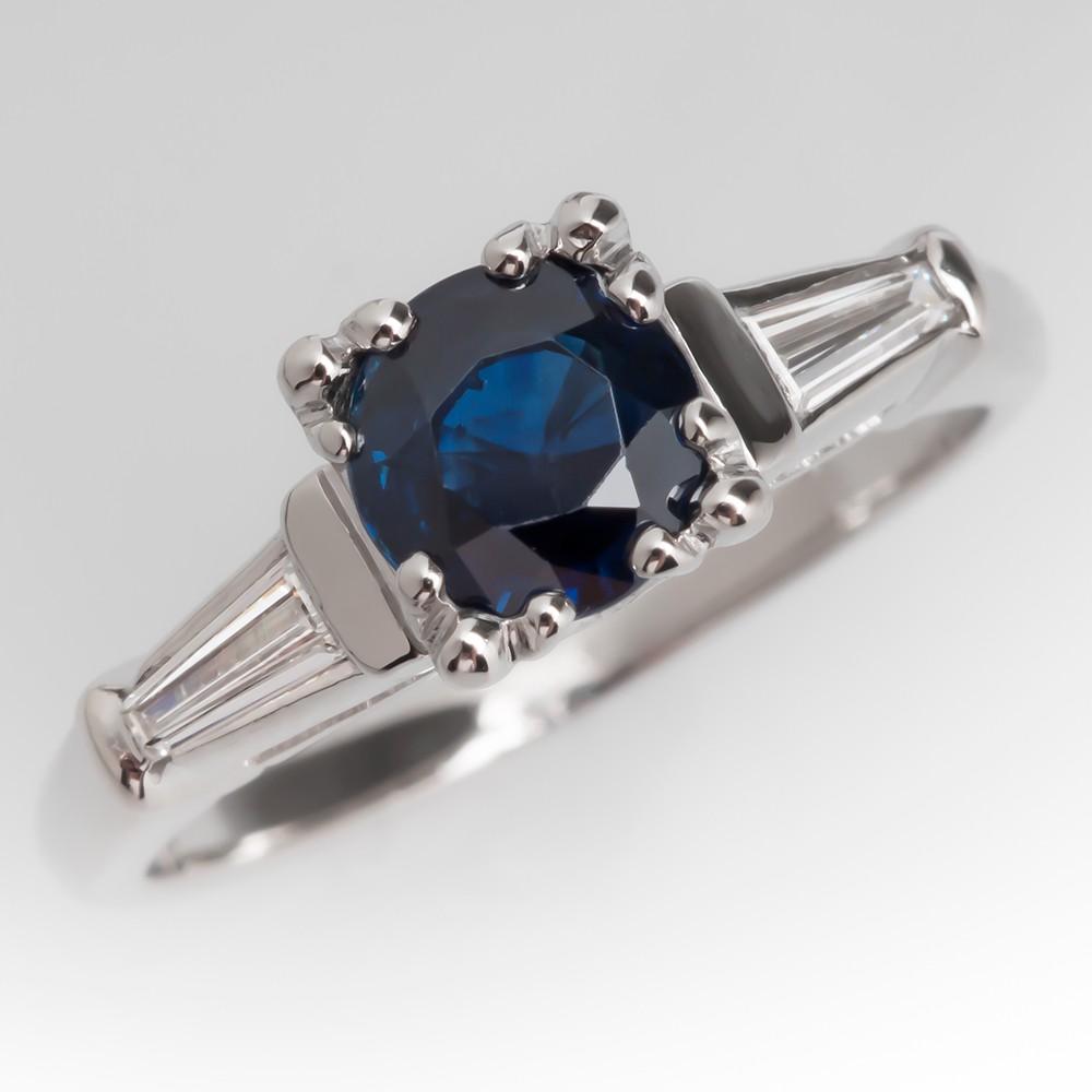 Vintage 1 Carat Round Blue Sapphire & Diamond Platinum Ring
