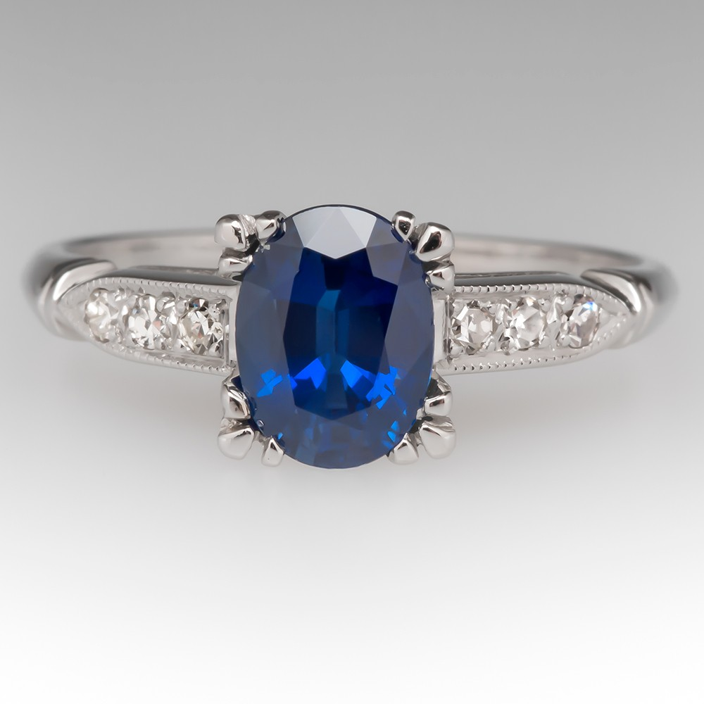 1.7 Carat Oval Blue Sapphire & Diamond Vintage Platinum Ring