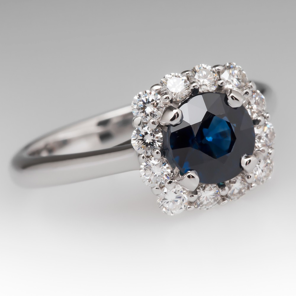 1.3 Carat Dark Blue Sapphire & Diamond Halo Ring 14K