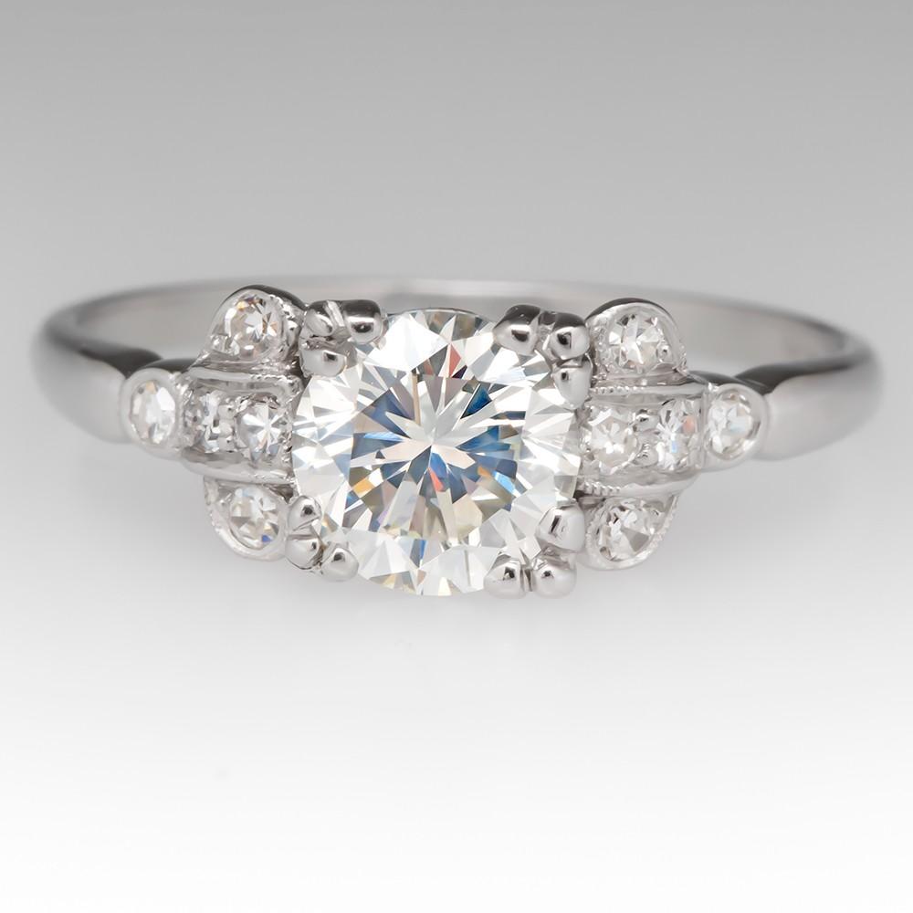 1930's Art Deco Mount w/Modern Round Brilliant Diamond Engagement Ring