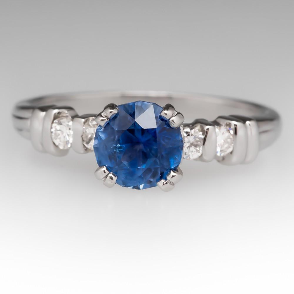 Transparent Blue Sapphire & Diamond Ring Platinum