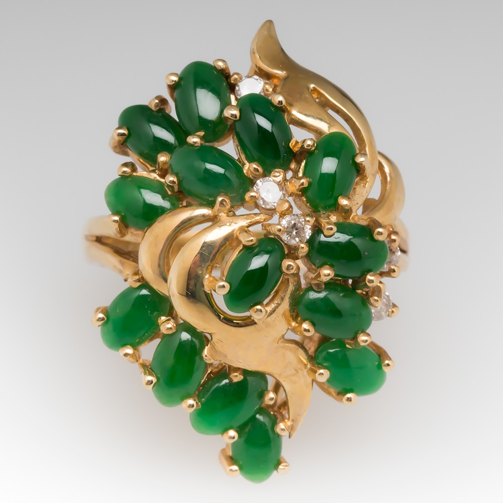Vintage A-Jade & Diamond Cluster Cocktail Ring 14K