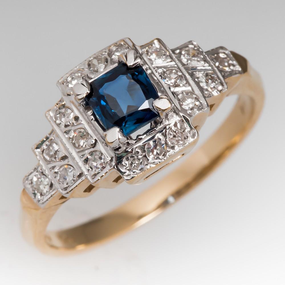 Cushion Cut Sapphire & Single Cut Diamond Ring 14K Gold