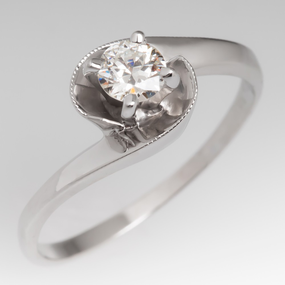 Round Brilliant Diamond Solitaire Vintage Diamond Engagement Ring