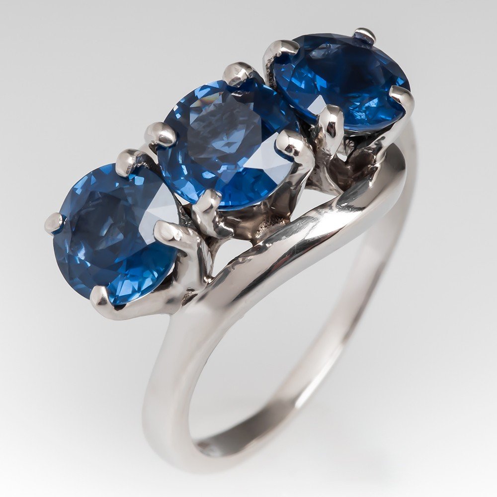 Platinum Vintage Three Stone Blue Sapphire Bypass Ring